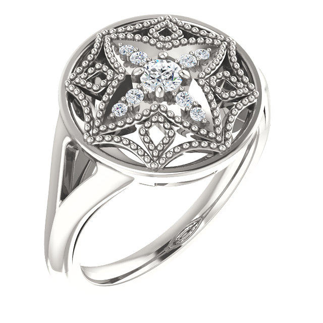 Sterling Silver 1/6 Carat Total Weight Diamond Vintage-Inspired Ring