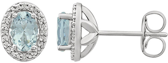 Sterling Silver Aquamarine & .025 Carat Total Weight Diamond Earrings