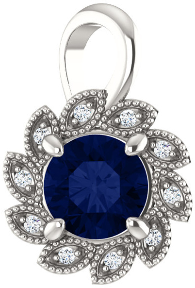 Sterling Silver Chatham Created Blue Sapphire & .04 Carat Total Weight Diamond Pendant