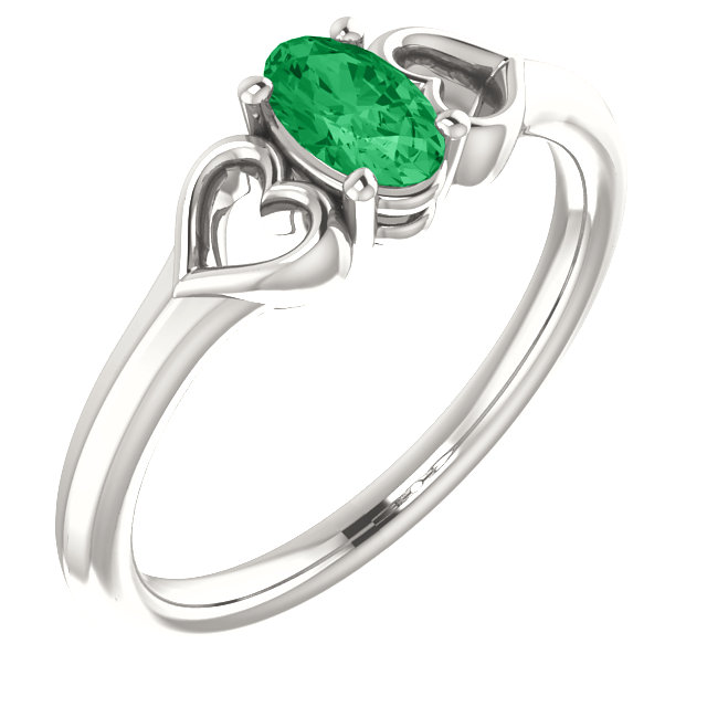 Sterling Silver Chatham Created Emerald Youth Heart Ring