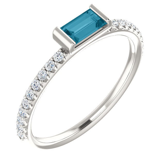 Sterling Silver London Blue Topaz & 1/6 Carat Total Weight Diamond Stackable Ring