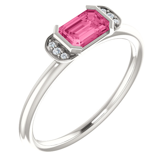 Sterling Silver Pink Tourmaline & .02 Carat Total Weight Diamond Stackable Ring