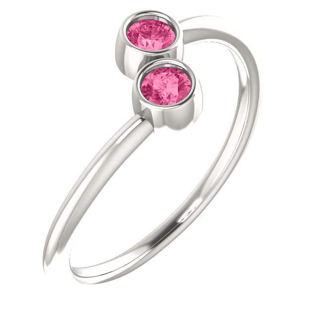 Sterling Silver Pink Tourmaline Two-Stone Ring