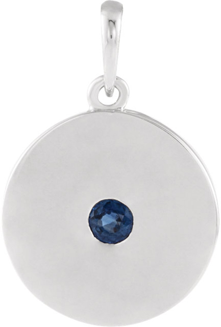Sterling Silver Sapphire Disc Pendant
