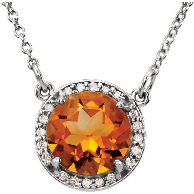 14 Karat White Gold Citrine and .04 Carat Total Weight Diamond Necklace