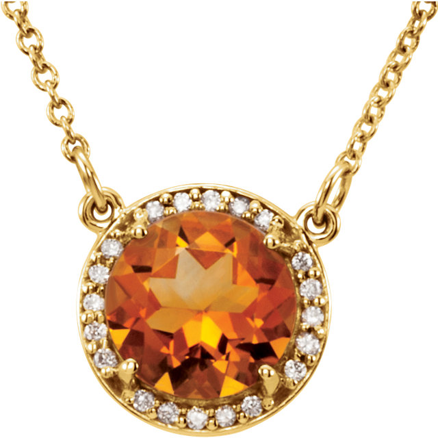 14 Karat Yellow Gold Citrine and .04 Carat Total Weight Diamond Necklace