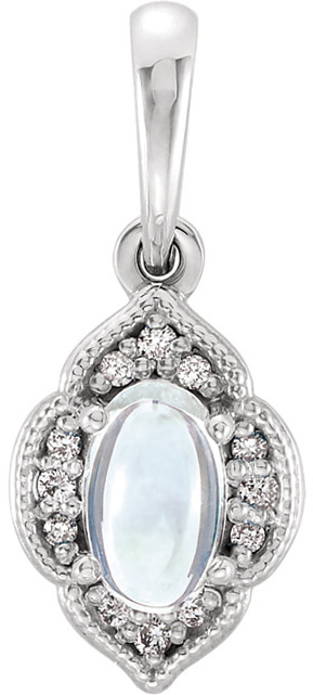 Sterling Silver Rainbow Moonstone & .03 Carat Total Weight Diamond Clover Pendant