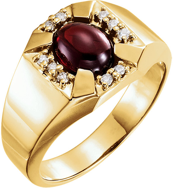 14 Karat Yellow Gold 9x7mm Cabochon Garnet and Diamond Accented Men's Ring