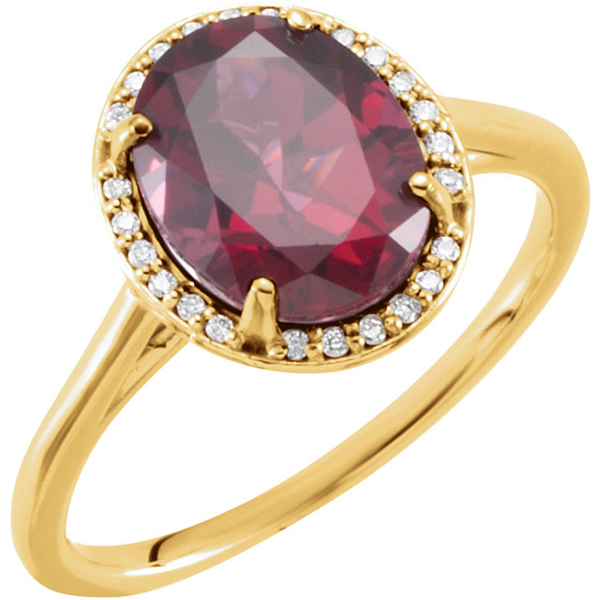 14 Karat Yellow Gold Rhodolite Garnet & .06 Carat Total Weight Diamond Ring