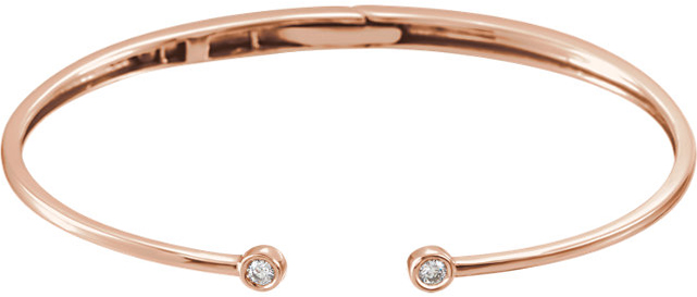 14 Karat Rose Gold 1/6 Carat Total Weight Diamond Hinged Bangle Bracelet