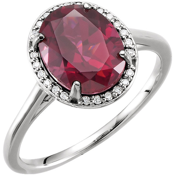 14 Karat White Gold Rhodolite Garnet & .06 Carat Total Weight Diamond Ring