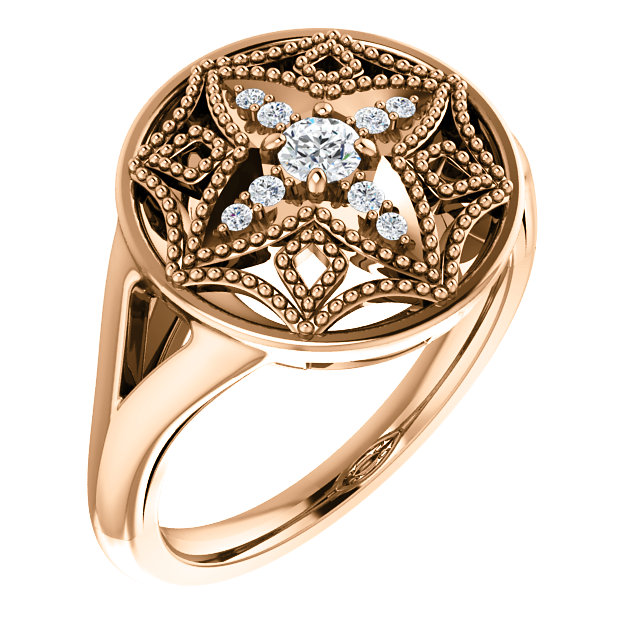 14 Karat Rose Gold 1/6 Carat Total Weight Diamond Vintage-Inspired Ring
