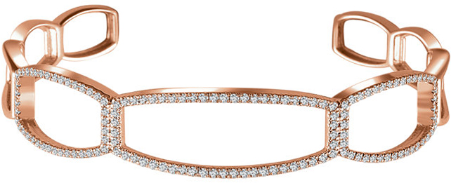14 Karat Rose Gold 3/4 Carat Total Weight Diamond Cuff 6 1/4