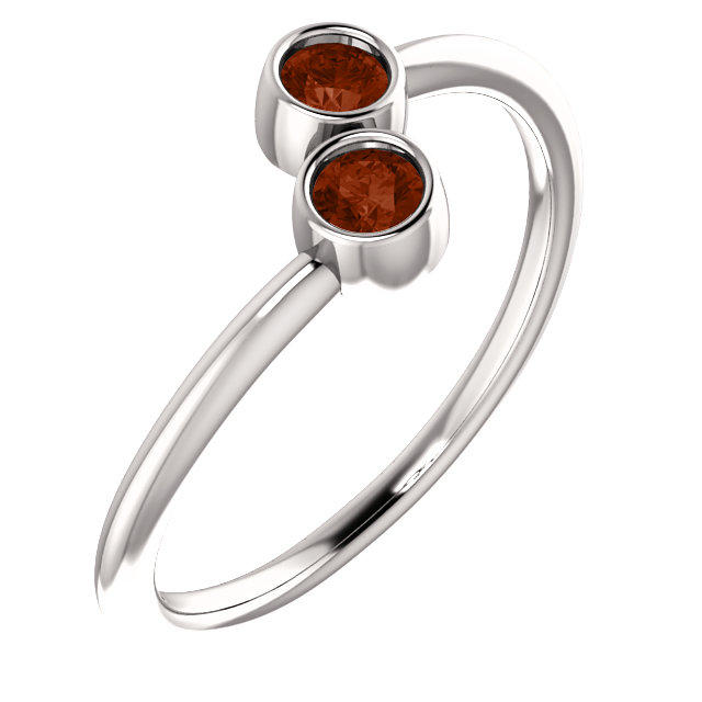 14 Karat White Gold Mozambique Garnet Two-Stone Ring
