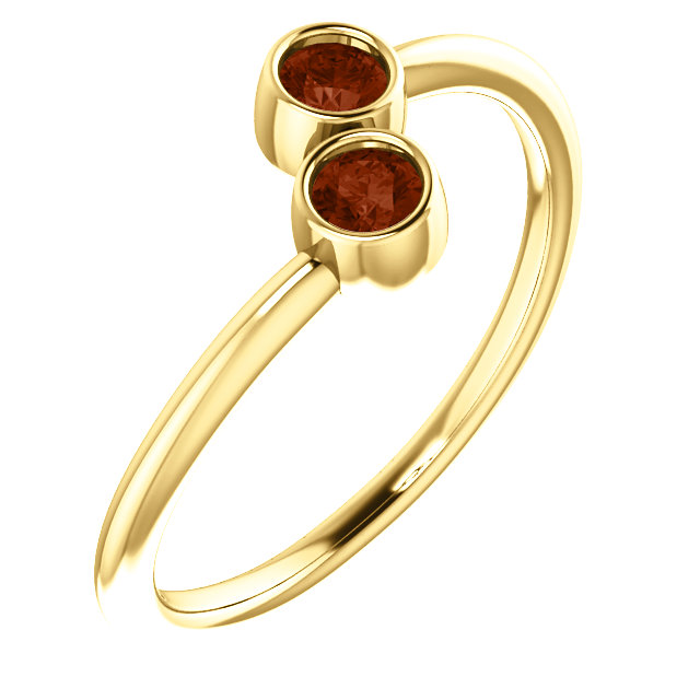 14 Karat Yellow Gold Mozambique Garnet Two-Stone Ring