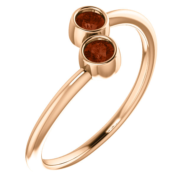 14 Karat Rose Gold Mozambique Garnet Two-Stone Ring