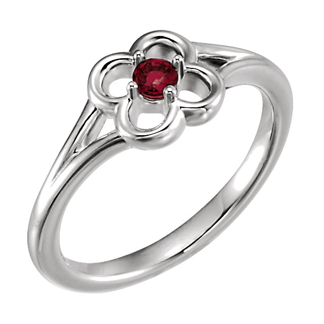 14 Karat White Gold Mozambique Garnet Flower Youth Ring
