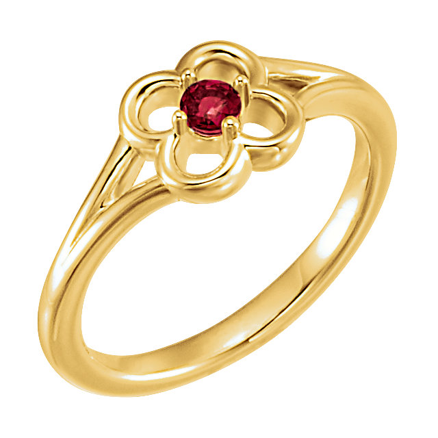 14 Karat Yellow Gold Mozambique Garnet Flower Youth Ring