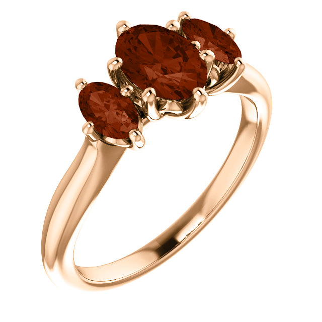 14 Karat Rose Gold 7x5mm Oval Garnet Ring