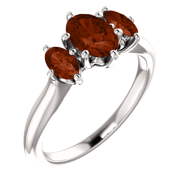 Platinum 7x5mm Oval Garnet Ring