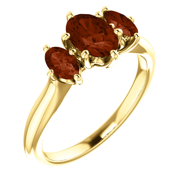 14 Karat Yellow Gold 7x5mm Oval Garnet Ring