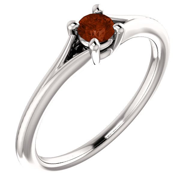 14 Karat White Gold Garnet Youth Ring