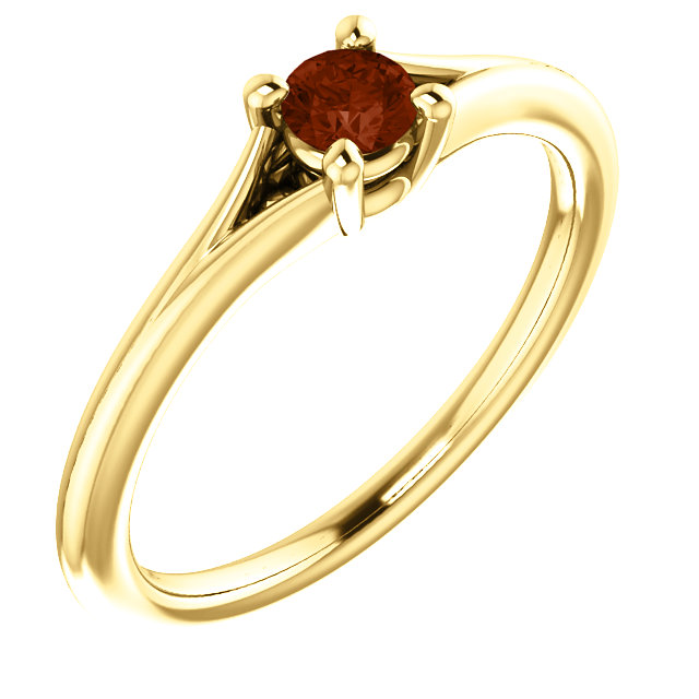 14 Karat Yellow Gold Garnet Youth Ring