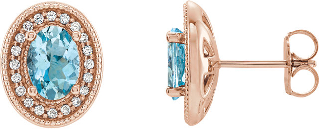 14 Karat Rose Gold Aquamarine & 1/5 Carat Total Weight Diamond Halo-Style Earrings