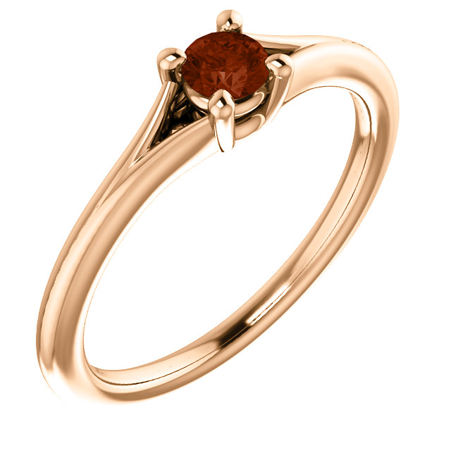 14 Karat Rose Gold Garnet Youth Ring