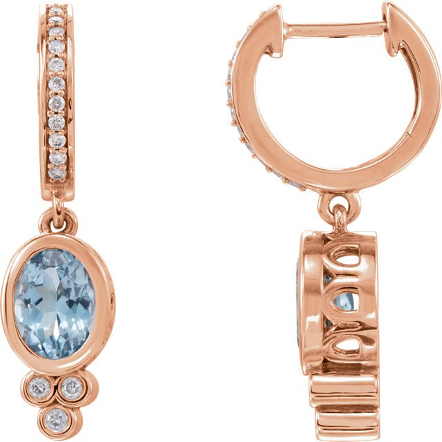 14 Karat Rose Gold Aquamarine & 1/6 Carat Total Weight Diamond Earrings