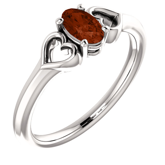 14 Karat White Gold Mozambique Garnet Youth Heart Ring