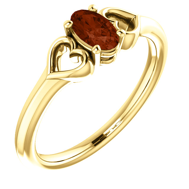 14 Karat Yellow Gold Mozambique Garnet Youth Heart Ring