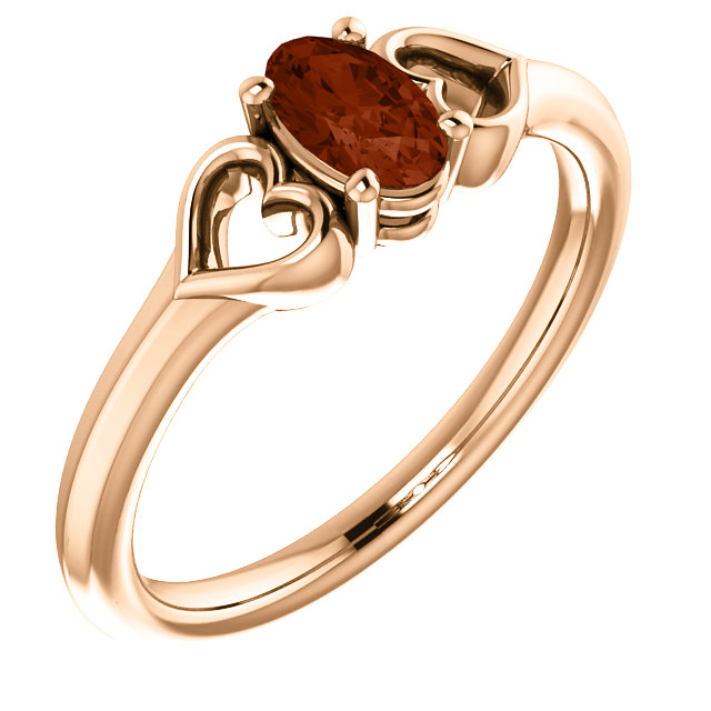 14 Karat Rose Gold Mozambique Garnet Youth Heart Ring