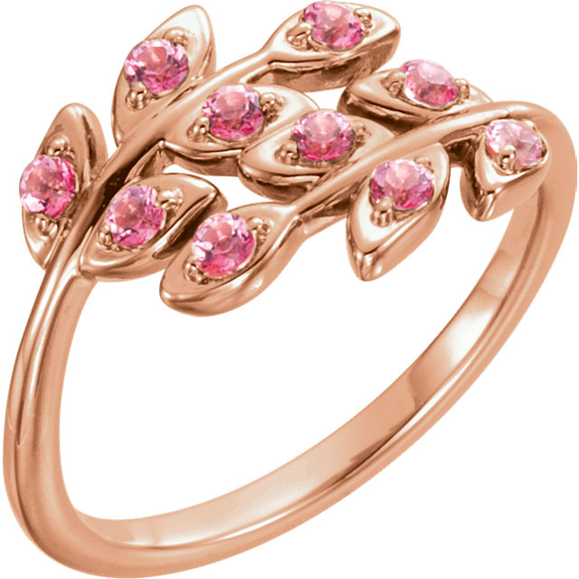 14 Karat Rose Gold Baby Pink Topaz Leaf Design Ring