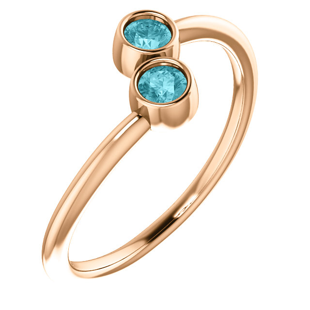 14 Karat Rose Gold Blue Zircon Two-Stone Ring