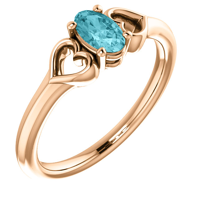 14 Karat Rose Gold Blue Zircon Youth Heart Ring