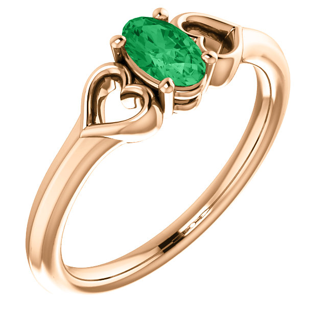 14 Karat Rose Gold Chatham Created Emerald Youth Heart Ring