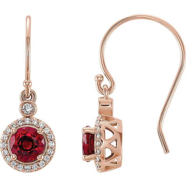 14 Karat Rose Gold Chatham Lab Grown Ruby & 1/6 Carat Total Weight Diamond Halo-Style Earrings