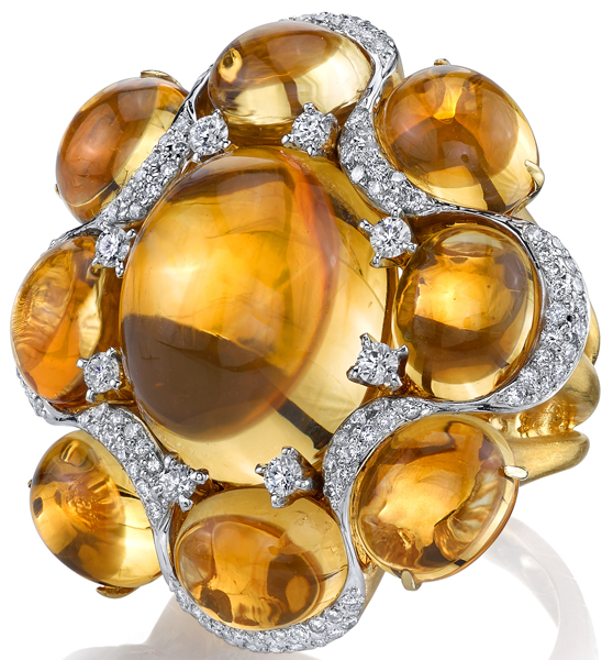 Amazing Cabochon Citrine Flower Ring in 18kt Yellow Gold With Diamond Accents - 38.2ctw in 9 Citrine Gems