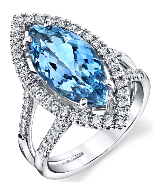 Incredible 18kt White Gold Split Shank Halo Ring - 4.20ct Fine Quality Marquise Cut Aquamarine Gem