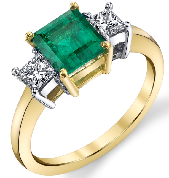 Classic Style 3-Stone 18kt 2-Tone Ring With 1.46ct Emerald Cut Center & 0.48ctw Princess Diamond Sidegems