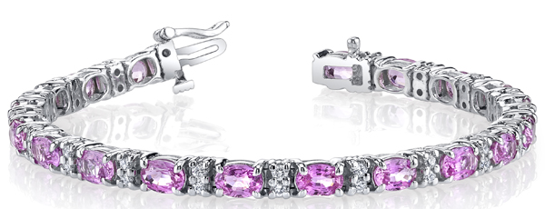 Fantastic 14kt White Gold Handmade Bracelet With 6.00 x 4.00 mm Pink Sapphires & Round White Diamonds