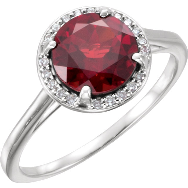 14KT White Gold Mozambique Garnet and .05Carat Total Weight Diamond Ring