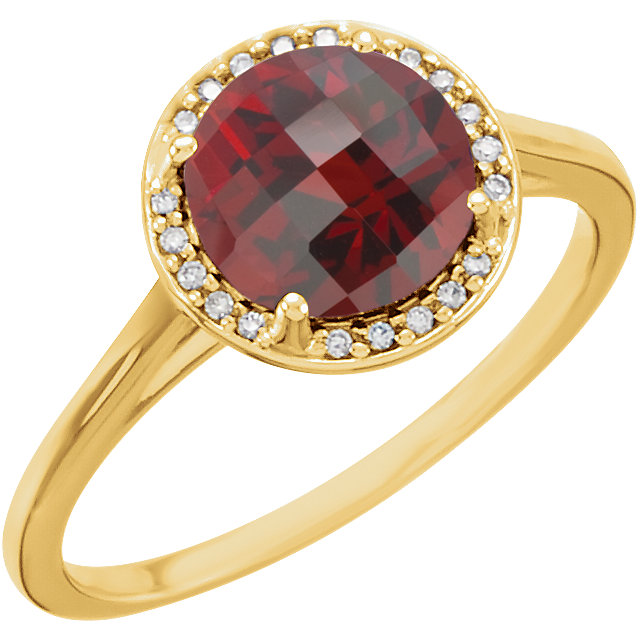 14KT Yellow Gold Mozambique Garnet and .05Carat Total Weight Diamond Ring