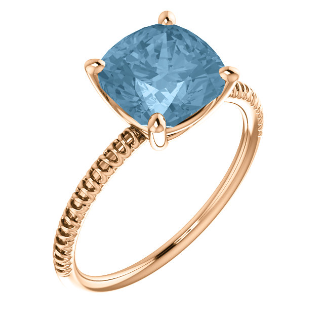 14KT Rose Gold Sky Blue Topaz Ring