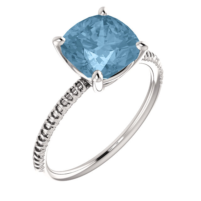 14KT White Gold Sky Blue Topaz Ring