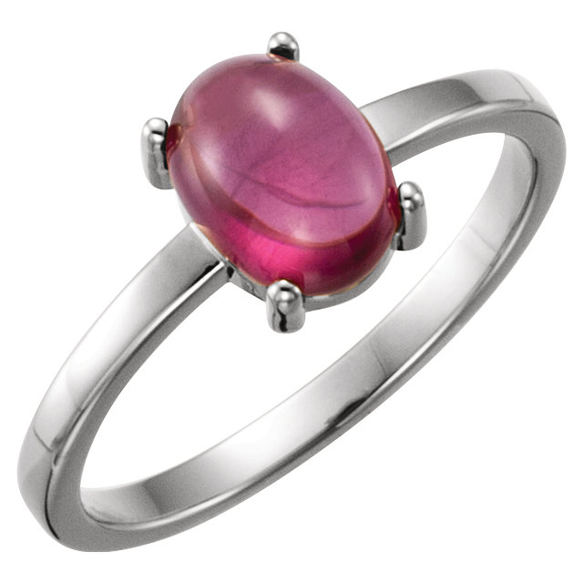 14KT White Gold 8x6mm Oval Rhodolite Garnet Cabochon Ring