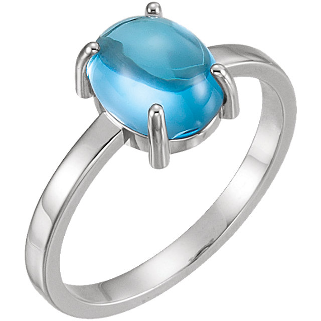 14KT White Gold 9x7mm Oval Swiss Blue Topaz Cabochon Ring