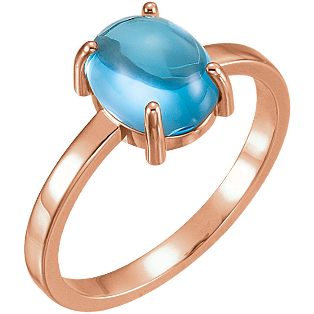 14KT Rose Gold 9x7mm Oval Swiss Blue Topaz Cabochon Ring