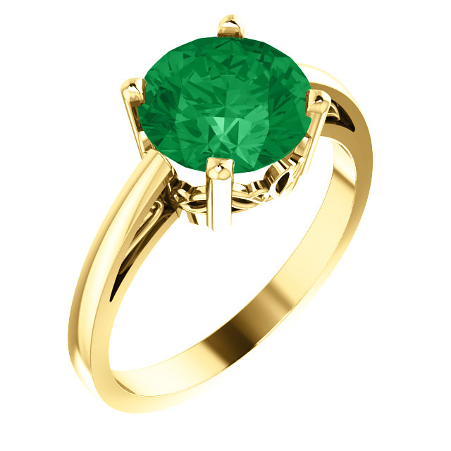 14KT Yellow Gold Chatham Created Emerald Ring